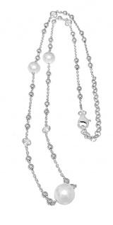 Collier echt Silber 925 Perlen Zirkonias Silberkette Kugelkette massiv Damen