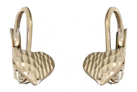 Kleine Herz Ohrhänger od. Ohrstecker Gold 585 Ohrringe Herzen geschliffen 14 Kt.