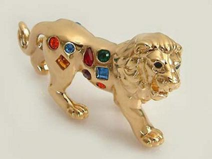 Achtung Sammler !! Goldener Löwe mit bunten Zirkonias zum Sammeln Vitrinenobjekt