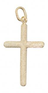 Goldkreuz 585 - glatt und diamantiert - Anhänger Kreuz Gold - Goldanhänger 14 Kt