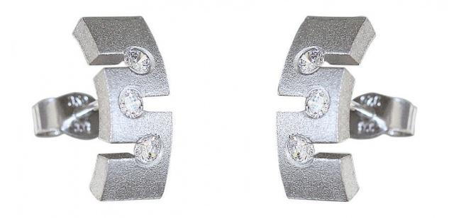 Ohrstecker Silber 925 Ohrschmuck m. Zirkonia Stecker Ohrringe massiv Schmuck
