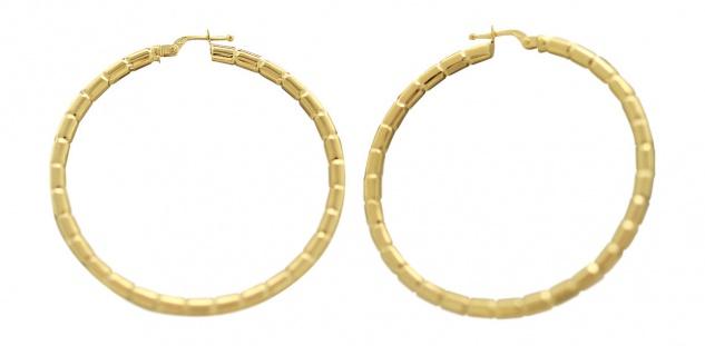 4, 6 cm große Creolen Gold 585 Ohrringe Goldcreolen mit Muster Creole 14 kt