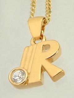 R Schmuckset Kette und Anhänger Buchstabe Goldkette pl Panzerkette Halskette