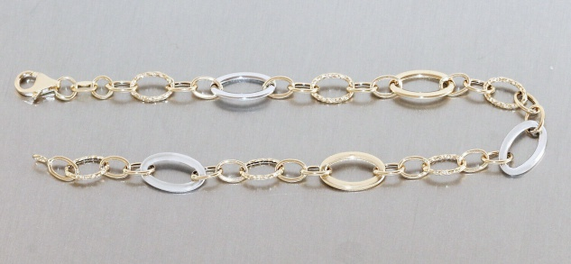 Armband Gold 585 bicolor Armkette Damen 20 cm Gelbgold Weißgold 14 Kt Karabiner