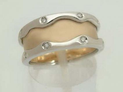 Moderner Brillantring - massiver zweifärbiger Goldring 585 - Ring Gold Damenring