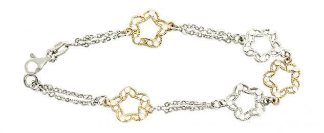 Silberarmband 925 Blumenarmband Armband Silber und Gold massiv Silberkette