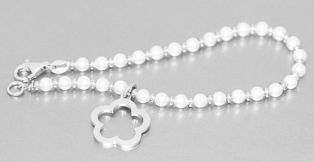 Armband Silber 925 Perlen Armkette Anhänger Blume Perlenarmband Karabiner Damen - Vorschau 2