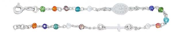 Rosenkranz Kette Armband Silber 925 mit bunten Perlen Silberkette Rosario