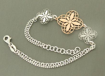 Blumenarmband Silberarmband 925 Blume Rotgold Armkette 2 reihig