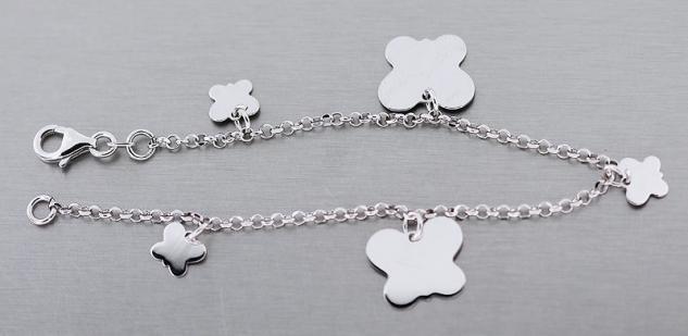Silberarmband 925 mit Schmetterlingen Armband m. Schmetterling Anhänger Armkette