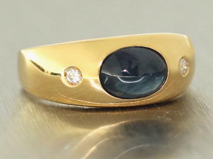 Massiver Allianzring Ring Gold 585 mit Saphir u. Brillanten Goldring Damenring