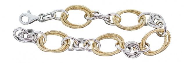 Breites Armband Silber 925 großes Gliederarmband - Silberarmband Gold vergoldet