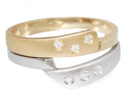 Ring Gold 585 bicolor massiv 6 Brillanten Goldring 14 Karat Damen RW 56