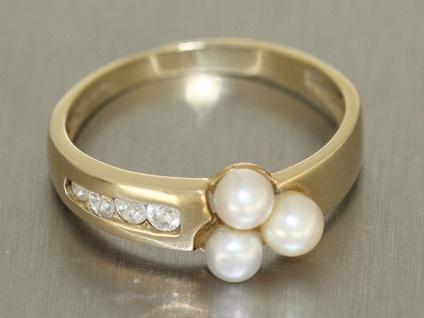 Goldring 585 mit Perlen und Zirkonias - Ring Gelbgold Damenring Perlenring Rw 60