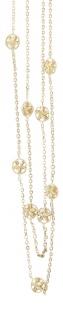 2-reihige Goldkette 750 / 18 Karat Collier mit Stern Dekor Halskette massiv Gold