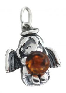Schutzengel Anhänger Silber 925 Engel mit Bernstein Silberanhänger Angel