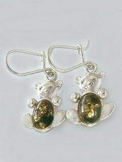 Ohrringe Silber 925 mit süßen Teddybären und grünen Bernsteinen Silberohrhänger