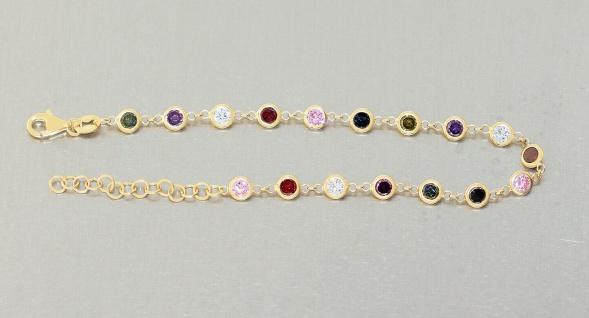 Armband Silber 925 vergoldet Zirkonias multicolor Armkette bunt Damen variabel - Vorschau 2