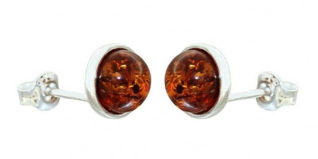 Ohrstecker Silber 925 Bernstein Cabochon cognac Ohrringe 9 mm Ohrschmuck Damen