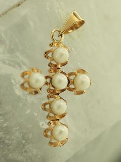 Goldkreuz 585 - Perlenkreuz - Anhänger Gold 14 kt- Goldanhänger - Kreuzanhänger