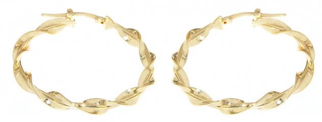 Creolen Gold 585 Ohrringe gedreht 14 Karat Damen Ohrschmuck 3, 4 cm - Vorschau