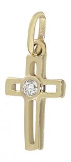 Kreuz Gold 585 Anhänger Zirkonia kleines Goldkreuz 14 kt Taufe Kommunion Kinder