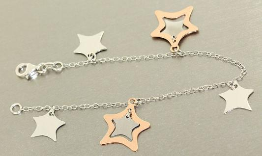 Silberarmband 925 Bettelarmband Silber Armband mit Sterne Anhänger Rosegold