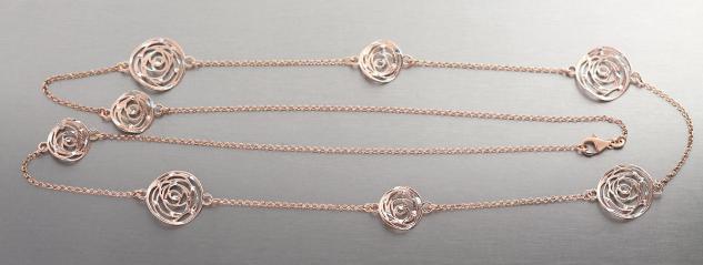 90 cm lange massive Silberkette 925 Rosegold Kette Silber Rotgold Halskette