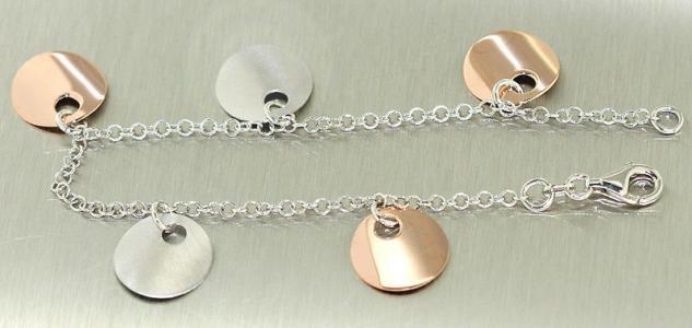 Armband Silber 925 mit Anhänger - Bettelarmband - Silberarmband Rotgold Armkette