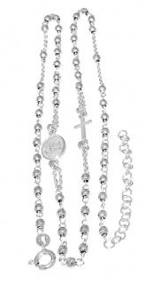 Rosenkranz Kette Silber 925 mit Kreuz und Maria mit Kind 50 cm Karabiner Kugeln