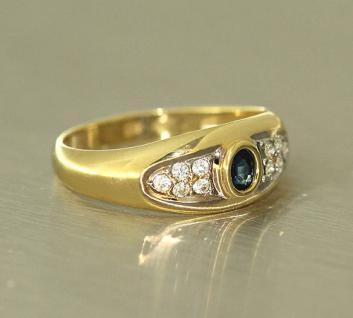 Eleganter Goldring 750 mit Saphir und Zirkonias massiver echter Ring Gold 18 kt