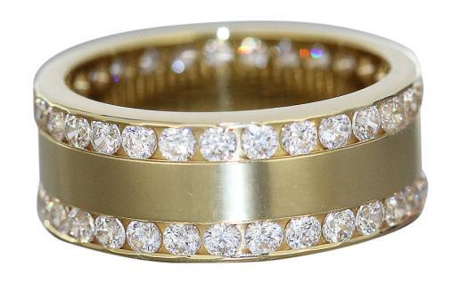 Massiver Ring in Gold 750 Memoryring schwerer breiter Goldring mit Zirkonias