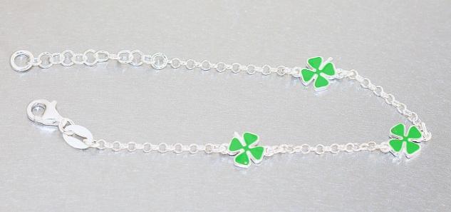 Kleeblatt Armband Silber 925 Glücksklee Kinder Mädchen Armkette Karabiner