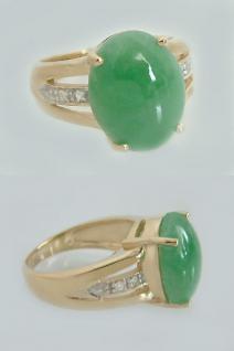 Goldring 375 mit Jade Ring Gold Damenring mit Jade und Zirkonias Jadering
