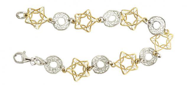 Festliches Silberarmband 925 massiv Armband Gold pl und Silber Silberkette
