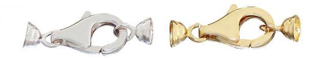 Karabinerverschluss Silber 925 od Silber vergoldet mit Kalotten Karabiner