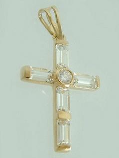 Goldkreuz 585 mit Zirkonia Baguette - Anhänger Kreuz - Goldanhänger 14 kt Gold