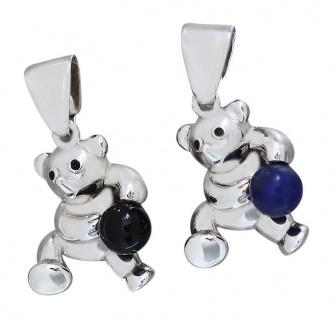 Teddybär Anhänger Silber 925 mit Onyx oder Lapis Lazuli Teddy Silberanhänger Bär