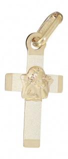 Kleines Kreuz Gold 585 mit Schutzengel Goldkreuz Kinder Anhänger 14 Kt.