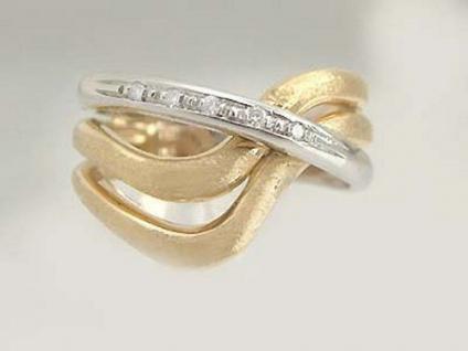 Zweifärbiger Goldring 585 Designerring Brillantring Ring Gold Damenring