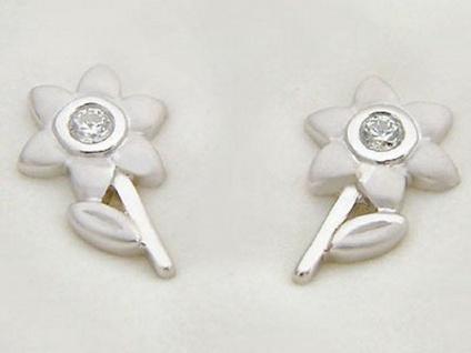 Kleine Blumen Ohrstecker echt Silber 925 mit Zirkonias Ohrschmuck Ohrringe