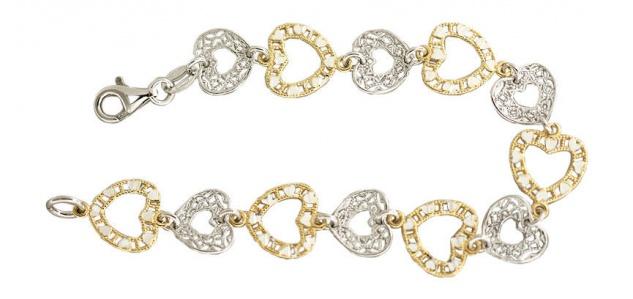 Armband Herzen Silber 925 und Gold pl Armkette für Verliebte Karabiner Damen