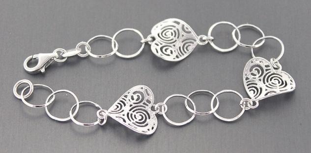 Armband Silber 925 rhodiniert mit Herzen Silberarmband Armkette Herz