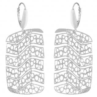 Ohrhänger Silber 925 Ohrringe große Rechtecke beweglich Damen Brisur Ohrschmuck - Vorschau 2