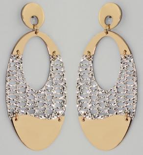 Ohrstecker Gold 585 bicolor lange bewegliche Ohrhänger ovale Goldohrstecker 14kt
