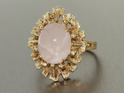 Goldring 585 im Design der 60er Jahre Gold Ring mit Rosenquarz Damenring