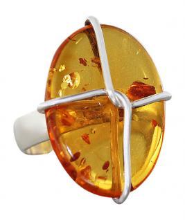Silberring 925 Bernsteinring Ring echt Sterlingsilber mit Bernstein Damenring