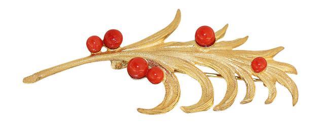 Goldbrosche 750 mit Korallen dekorative Brosche Gold 18 Karat Korallenbrosche