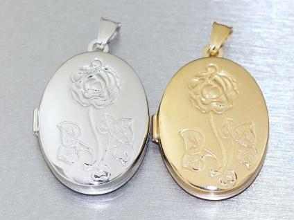 Ovales Medaillon Silber 925 rhodiniert oder Gold mit Rose Anhänger