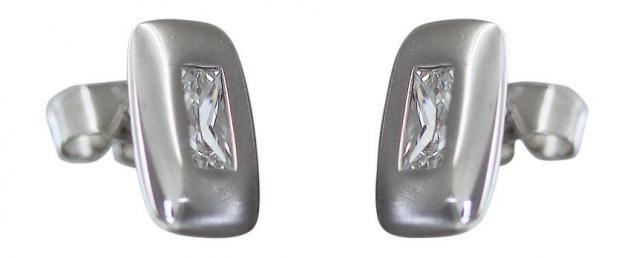 Schlanker rechteckiger Ohrstecker Silber 925 mit Zirkonia Ohrschmuck Ohrringe
